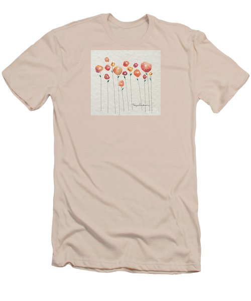 Red Abstract Floral Men's T-Shirt (Athletic Fit)