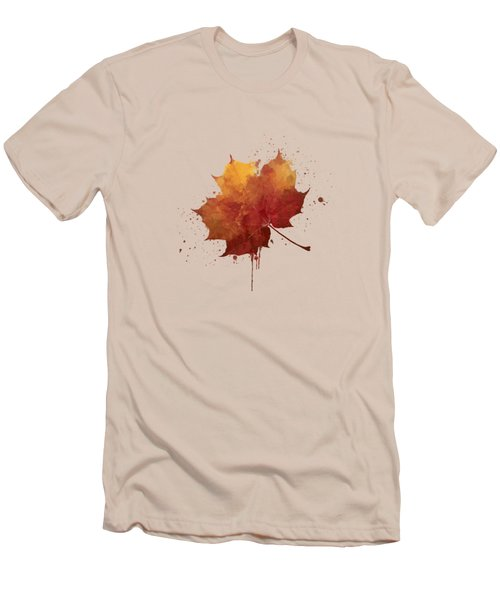 Red Autumn Leaf Men's T-Shirt (Slim Fit)