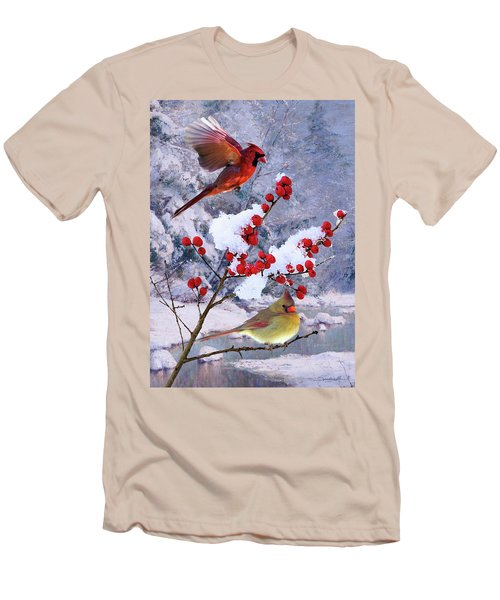 Red Birds Of Christmas Men's T-Shirt (Athletic Fit)