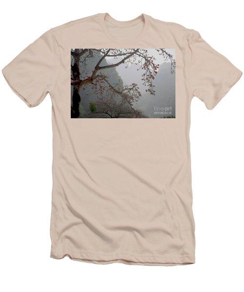 Red Blossoms  Vietnam  Men's T-Shirt (Slim Fit) by Chuck Kuhn