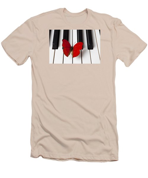 Red Butterfly On Piano Keys Men's T-Shirt (Slim Fit) by Garry Gay