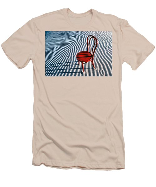 Red Chair In Sand Men's T-Shirt (Slim Fit) by Garry Gay