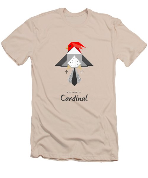 Red-crested Cardinal Minimalist Men's T-Shirt (Slim Fit) by BONB Creative