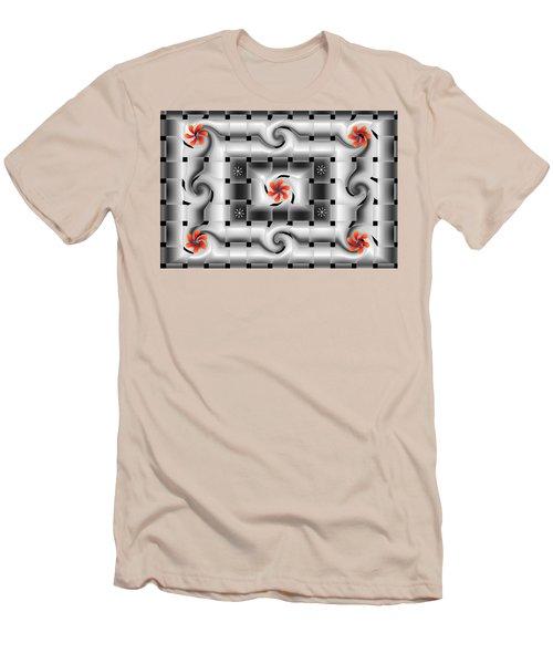 Red Floral Fractal Men's T-Shirt (Athletic Fit)