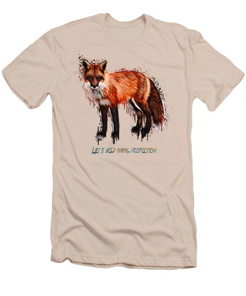 Red Fox In Tears Digital Painting Men's T-Shirt (Slim Fit) by Georgeta Blanaru