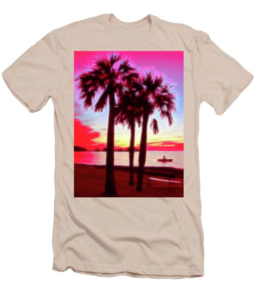 Men's T-Shirt (Athletic Fit) featuring the photograph Red Glow Beach Sunset by Aimee L Maher Photography and Art Visit ALMGallerydotcom
