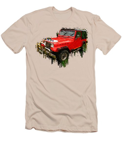 Red Jeep Off Road Acrylic Painting Men's T-Shirt (Slim Fit) by Georgeta Blanaru