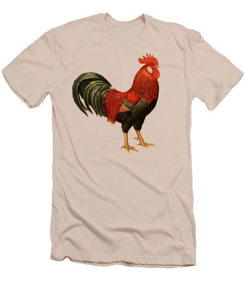 Red Leghorn Rooster Men's T-Shirt (Slim Fit) by Unknown