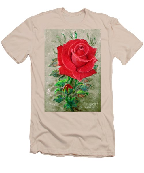Red Rose Men's T-Shirt (Slim Fit) by Jasna Dragun