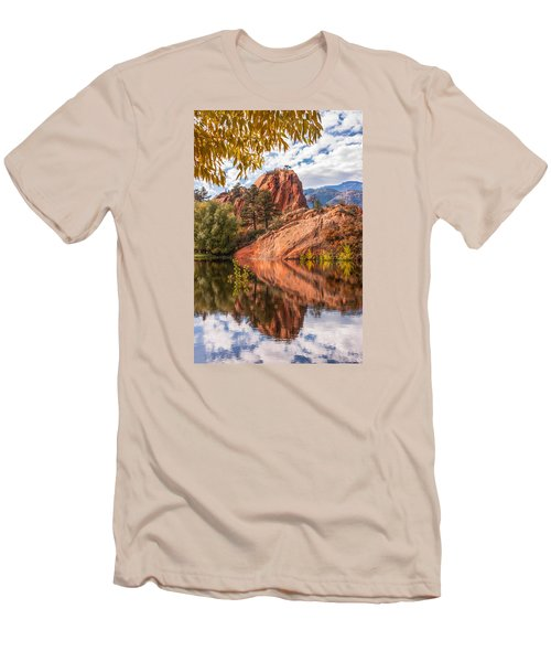 Reflecting At Red Rocks Open Space Men's T-Shirt (Slim Fit) by Christina Lihani
