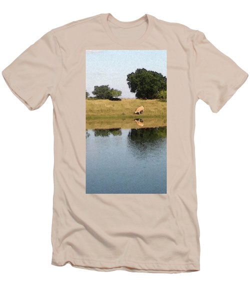 Men's T-Shirt (Slim Fit) featuring the photograph Reflective Cow by Donna G Smith