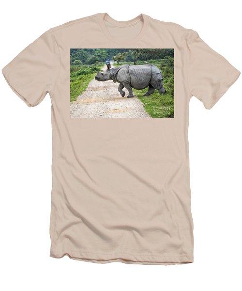Rhino Crossing Men's T-Shirt (Slim Fit) by Pravine Chester