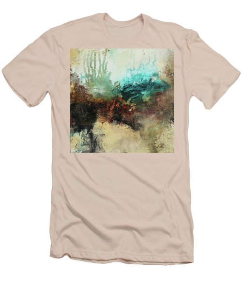 Rich Earth Tones Abstract Not For The Faint Of Heart Men's T-Shirt (Slim Fit) by Patricia Lintner