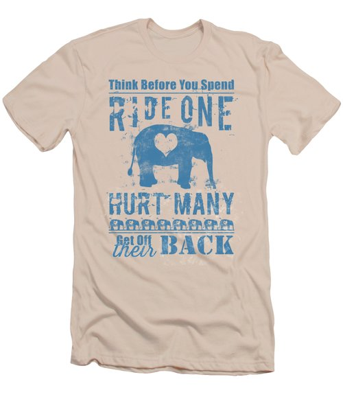 Ride One Elephant Hurt Many Men's T-Shirt (Slim Fit) by Nola Lee Kelsey