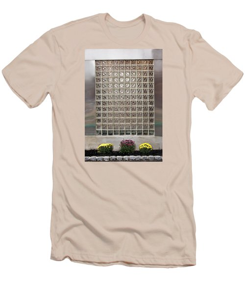 Men's T-Shirt (Slim Fit) featuring the photograph Rippled Glsss Window Segments Above The Garden by Gary Slawsky