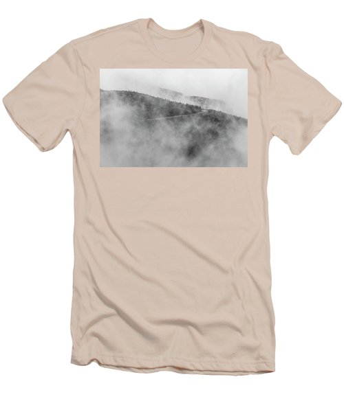 Road In Fog - Blue Ridge Parkway Men's T-Shirt (Athletic Fit)