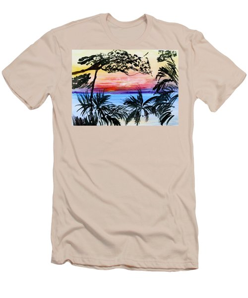 Roatan Sunset Men's T-Shirt (Slim Fit) by Donna Walsh