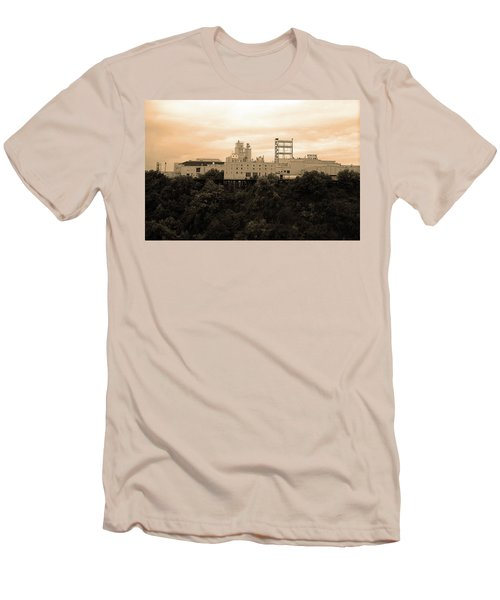 Men's T-Shirt (Slim Fit) featuring the photograph Rochester, Ny - Factory On A Hill Sepia by Frank Romeo