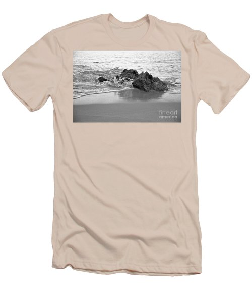 Rock And Waves In Albandeira Beach. Monochrome Men's T-Shirt (Athletic Fit)