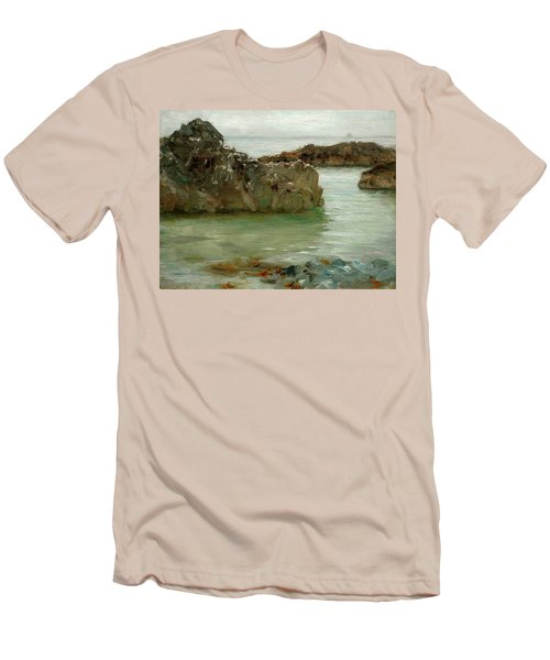 Men's T-Shirt (Slim Fit) featuring the painting Rocks At Newport by Henry Scott Tuke