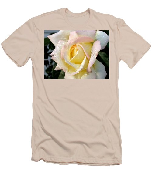 Men's T-Shirt (Slim Fit) featuring the photograph Rose And Raindrops by Cynthia Lassiter