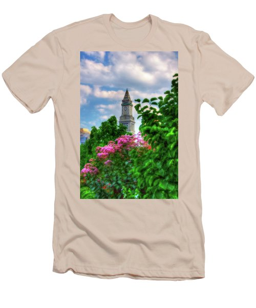 Men's T-Shirt (Athletic Fit) featuring the photograph Rose Kennedy Greenway And Marriott Custom House - Boston by Joann Vitali