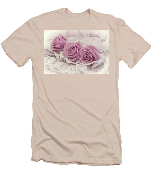 Roses And Beaded Lace Men's T-Shirt (Slim Fit) by Sandra Foster