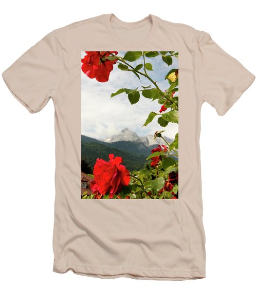 Men's T-Shirt (Slim Fit) featuring the photograph Roses Of The Zugspitze by KG Thienemann