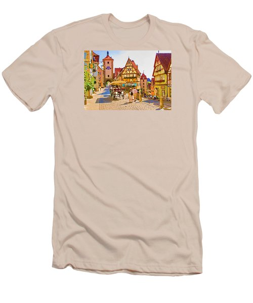 Men's T-Shirt (Slim Fit) featuring the photograph Rothenburg Little Square by Dennis Cox WorldViews