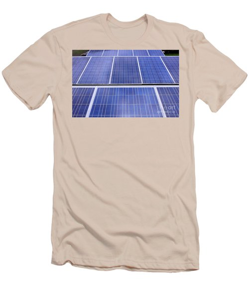 Men's T-Shirt (Slim Fit) featuring the photograph Rows Of Solar Panels by Yali Shi