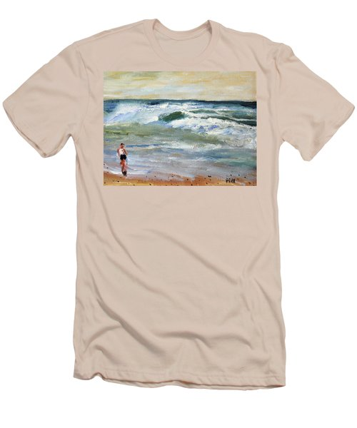 Running The Beach Men's T-Shirt (Slim Fit) by Michael Helfen