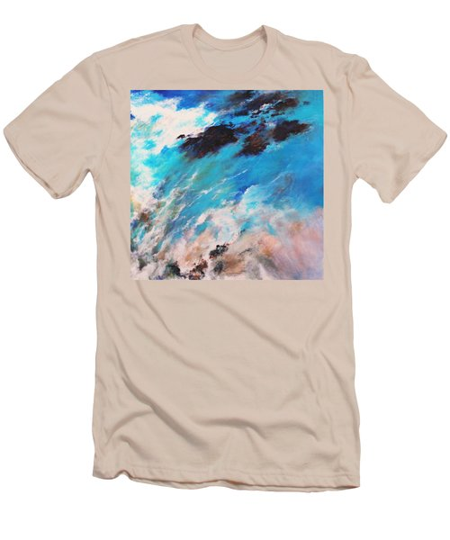 Men's T-Shirt (Slim Fit) featuring the painting Rushing Water by M Diane Bonaparte