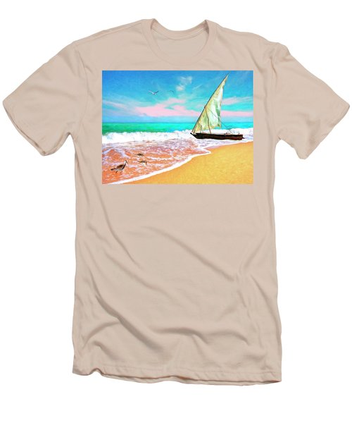Sail Boat On The Shore Men's T-Shirt (Athletic Fit)