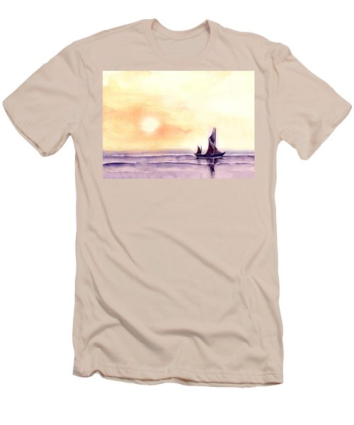 Men's T-Shirt (Slim Fit) featuring the painting Sailing by Anil Nene