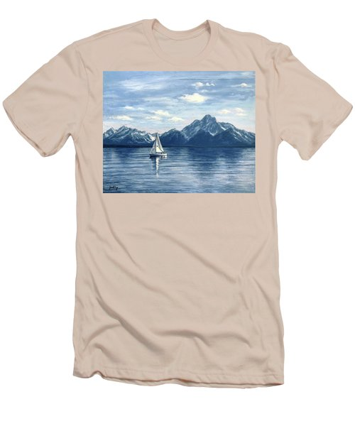 Sailing At The Grand Tetons Men's T-Shirt (Athletic Fit)