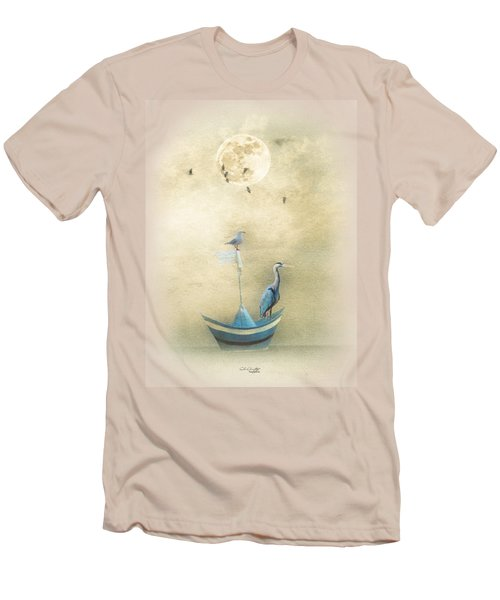 Men's T-Shirt (Slim Fit) featuring the painting Sailing By The Moon by Chris Armytage