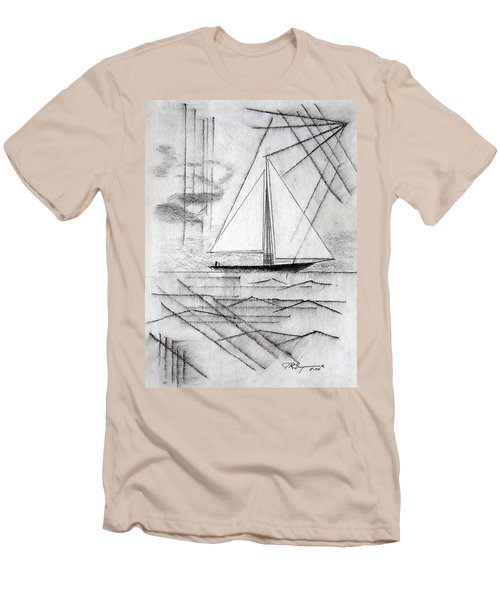 Sailing In The City Harbor Men's T-Shirt (Slim Fit) by J R Seymour