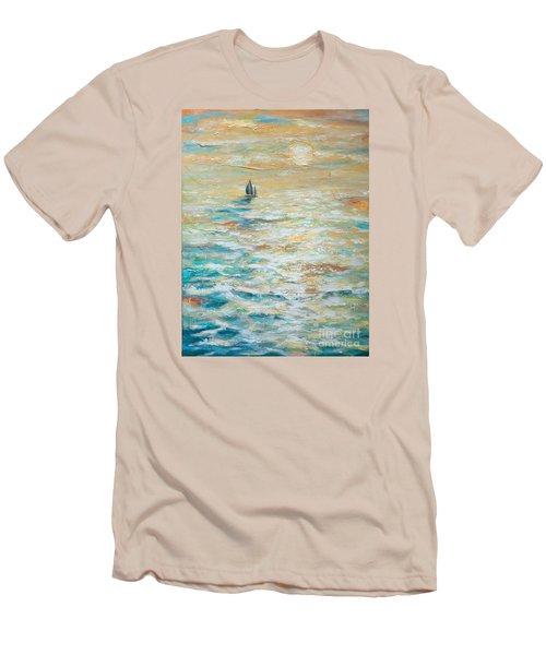 Sailing Into The Sunset Men's T-Shirt (Slim Fit) by Linda Olsen