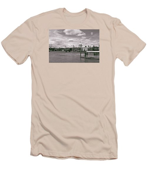 Men's T-Shirt (Slim Fit) featuring the photograph Saint Pauls Cathedral Along The Thames by Nop Briex