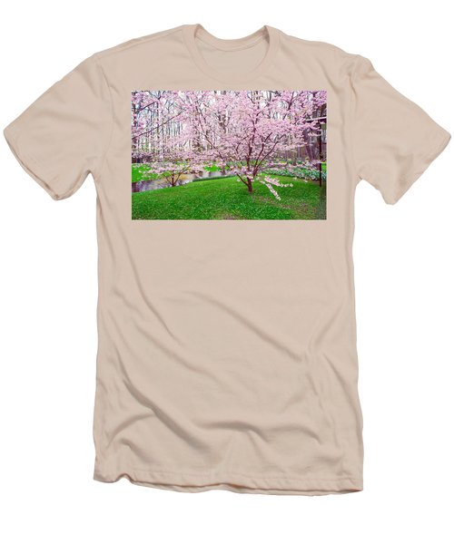 Men's T-Shirt (Athletic Fit) featuring the photograph Sakura Bloom In Keukenhof Garden by Jenny Rainbow