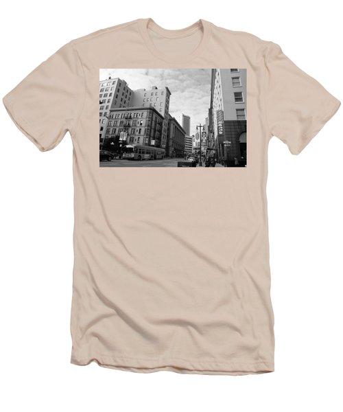 San Francisco - Jessie Street View - Black And White Men's T-Shirt (Slim Fit)