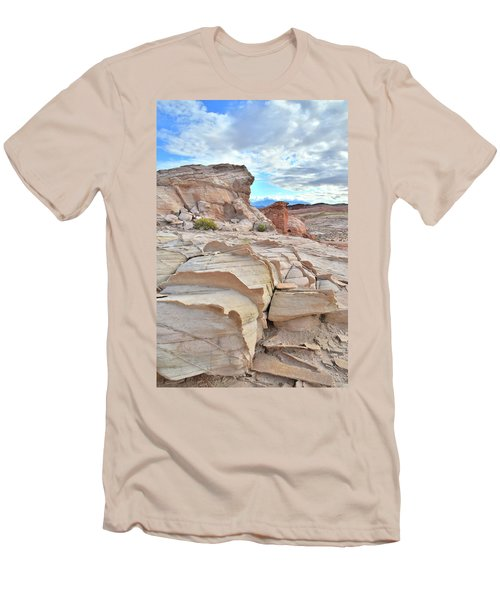 Sandstone Staircase In Valley Of Fire Men's T-Shirt (Slim Fit) by Ray Mathis
