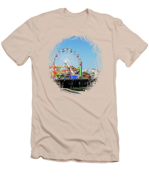 Santa Monica Ferris Wheel Men's T-Shirt (Slim Fit) by Stefanie Juliette