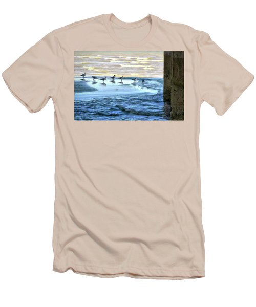 Seagulls At Waters Edge Men's T-Shirt (Athletic Fit)