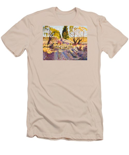 Sheep And Shepherd At Sunset Oil Painting Bertram Poole Men's T-Shirt (Athletic Fit)