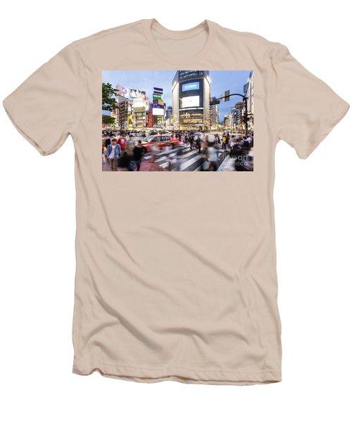 Shibuya Crossing At Night In Tokyo Men's T-Shirt (Athletic Fit)