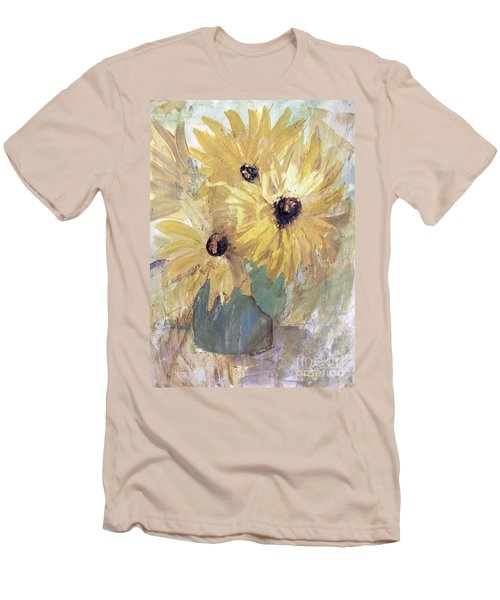 Men's T-Shirt (Athletic Fit) featuring the painting Simply Sunflowers  by Robin Maria Pedrero