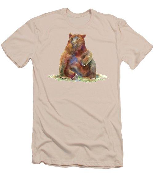 Sitting Bear Men's T-Shirt (Slim Fit) by Amy Kirkpatrick