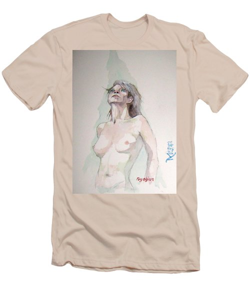 Men's T-Shirt (Slim Fit) featuring the painting Sketch For Megan Iv by Ray Agius