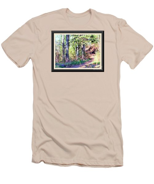 Men's T-Shirt (Slim Fit) featuring the photograph Small Park Scene by Shirley Moravec